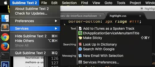 Exemplo de dropdown no Sublime Text