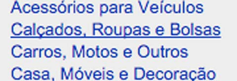 Exemplo de link no site do Mercado Livre